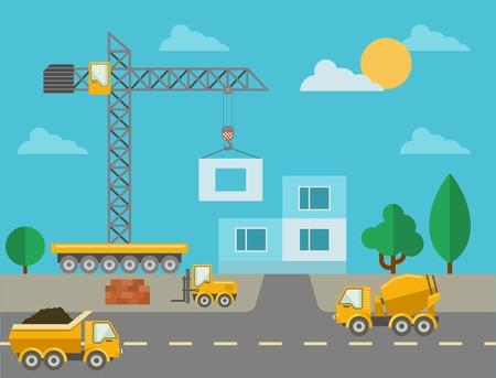 Foto de Construction process with construction machines and erected building - Imagen libre de derechos