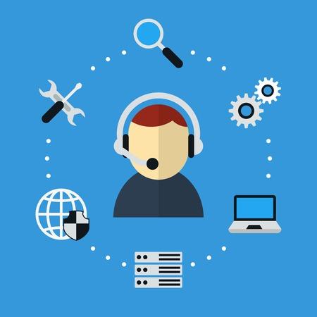 Illustration pour Computer and Technical Support Icon - image libre de droit