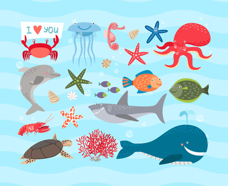 Illustration for Vector cute sea animals. Dolphin and whale, octopus, turtle - Royalty Free Image