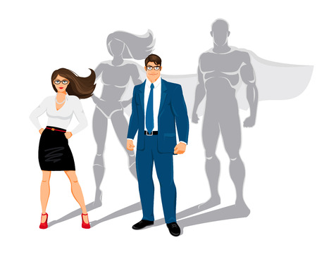 Ilustración de Businessman and business woman office superheroes - Imagen libre de derechos