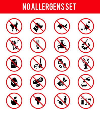 Illustration for Allergen free products icons - Royalty Free Image