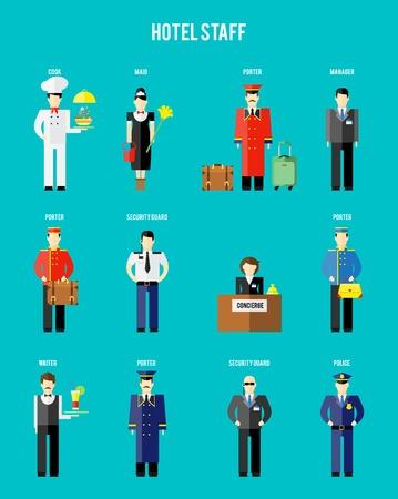 Illustrazione per Vector hotel staff - Immagini Royalty Free