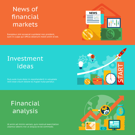 Illustration pour Business concepts. News of markets, investment ideas and financial analysis - image libre de droit