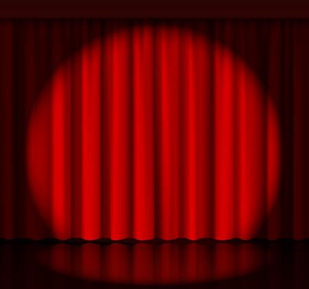 Illustration pour Spotlight on stage curtain - image libre de droit