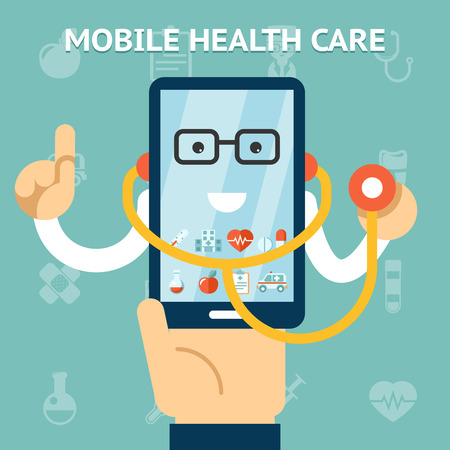 Photo pour Mobile health care and medicine concept - image libre de droit