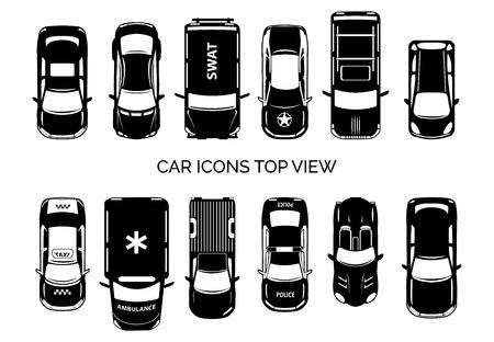 Ilustración de Car icons top view - Imagen libre de derechos