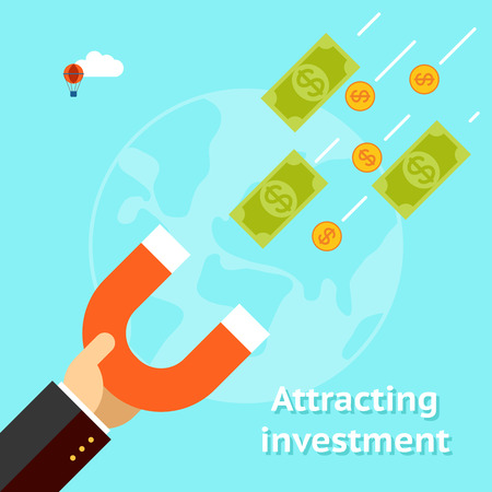 Ilustración de Attracting investments concept - Imagen libre de derechos