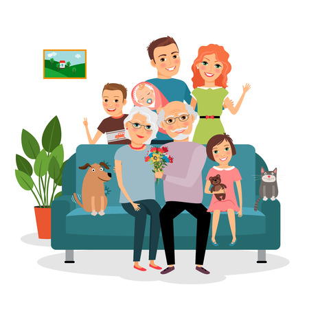 Photo pour Family on sofa - image libre de droit