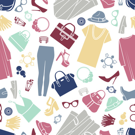 Photo pour Fashion shopping icons seamless vector background - image libre de droit