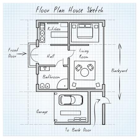 Ilustración de Floor plan house sketch - Imagen libre de derechos