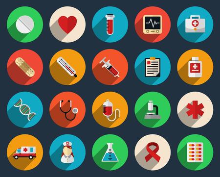 Illustration pour Health care and medicine icons in flat style - image libre de droit