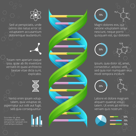 Ilustración de Infographic template with DNA structure for medical and biological research - Imagen libre de derechos