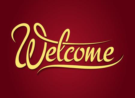 Illustration pour Welcome hand lettering sign - image libre de droit