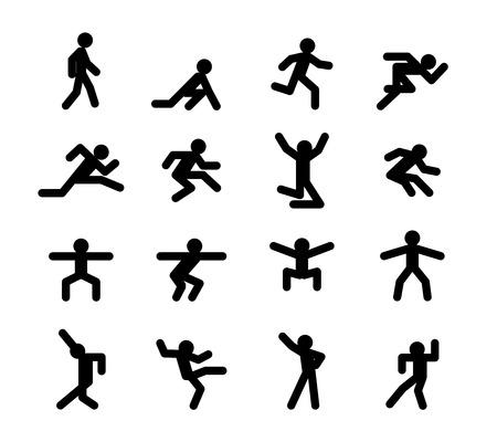 Ilustración de Human action poses. Running walking, jumping and squatting, dancing - Imagen libre de derechos