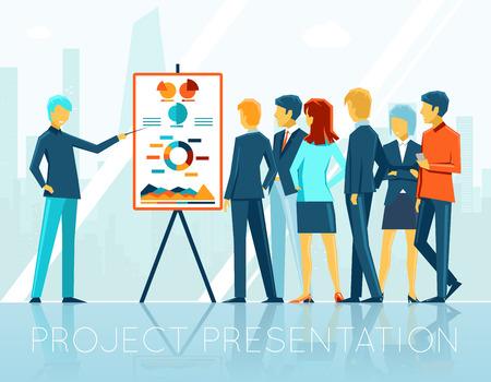 Illustration pour Business meeting, project presentation - image libre de droit
