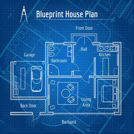 Illustration for Blueprint house plan - Royalty Free Image