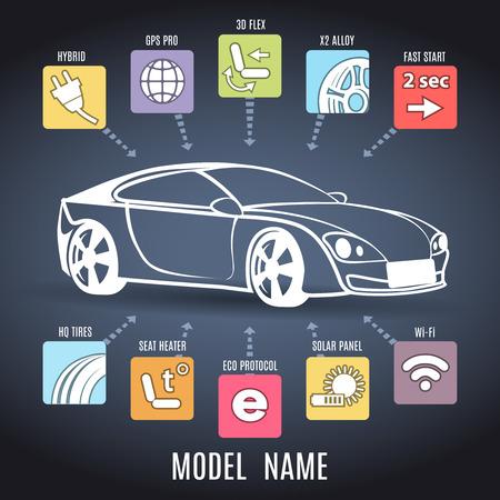 Illustration pour Car presentation poster - image libre de droit