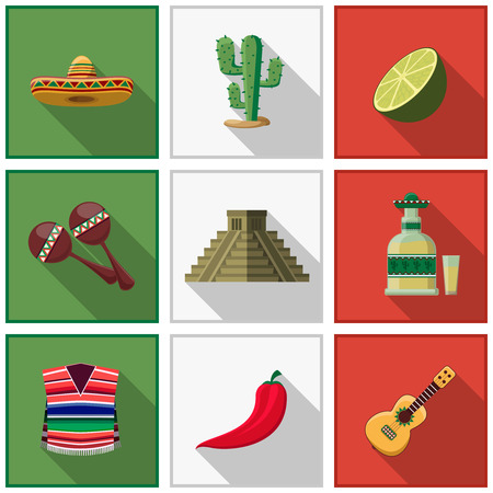Illustration for Mexico icons set - Royalty Free Image