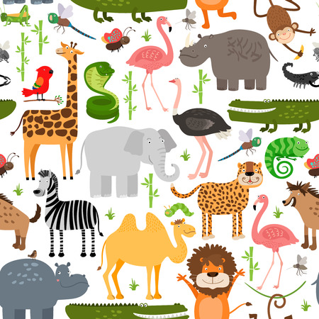 Jungle animals seamless pattern