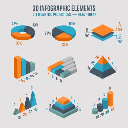 Illustration pour Isometric 3d sign. Pie and donut chart, layers graphs, pyramid diagram - image libre de droit
