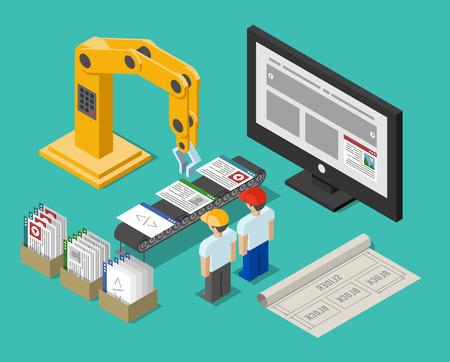 Ilustración de Development process web site interface - Imagen libre de derechos
