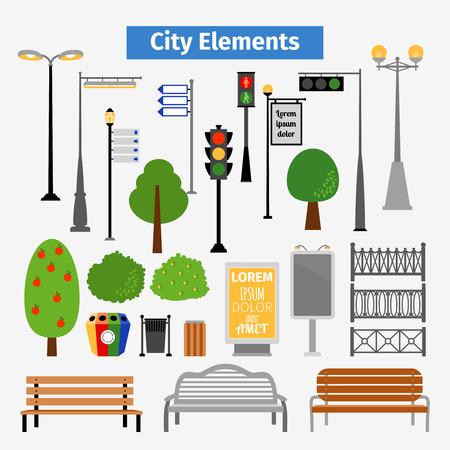 Illustration pour City and outdoor elements - image libre de droit