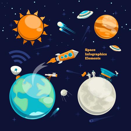 Ilustración de Conquest of space. Space infographics elements - Imagen libre de derechos