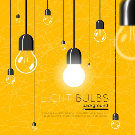 Ilustración de Light bulbs background. Idea concept - Imagen libre de derechos