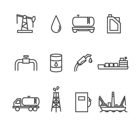 Illustration pour Oil and petrol industry line icon set - image libre de droit