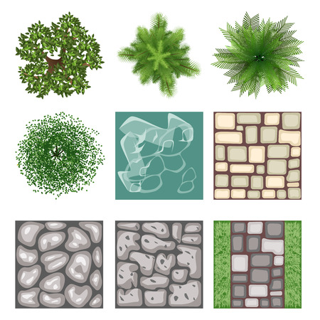 Illustration pour Landscape design top view vector elements - image libre de droit