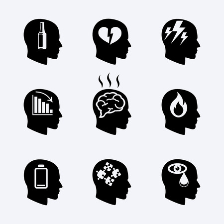 Illustrazione per Depression, stress concept or mental health icons - Immagini Royalty Free