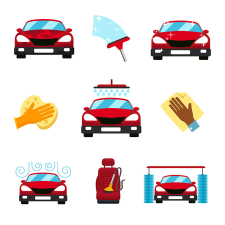 Illustration for Vector set of car washing flat icons - Royalty Free Image