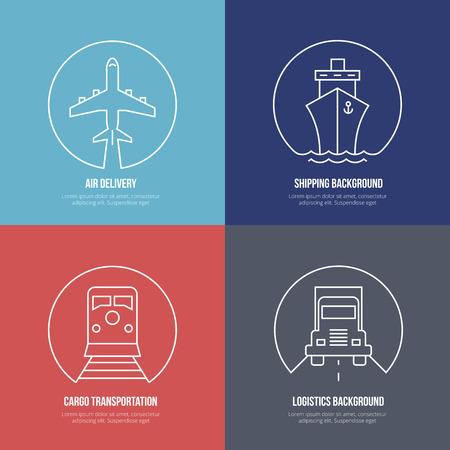 Photo pour Logistics line icons. Airmail cargo transportation, delivery and shipping - image libre de droit