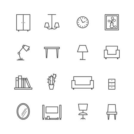 Ilustración de Line furniture icons - Imagen libre de derechos
