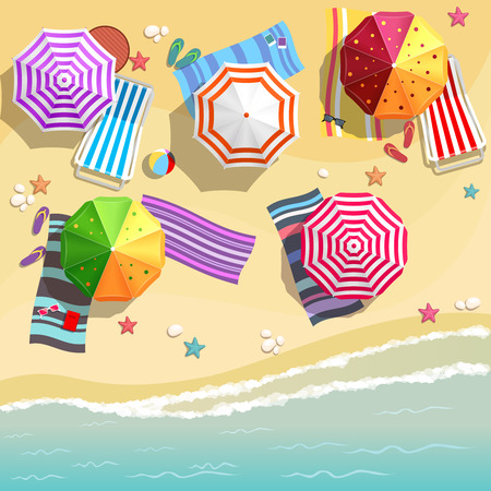 Illustration for Aerial view of summer beach in flat design style - Royalty Free Image