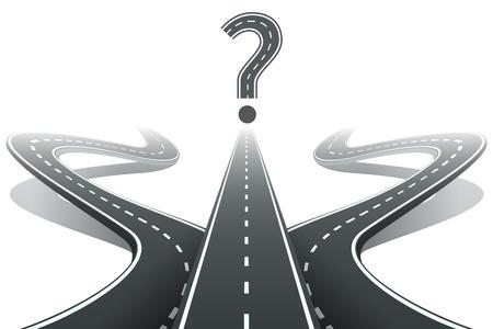 Illustration pour Three roads and question mark. Choosing the right path concept - image libre de droit