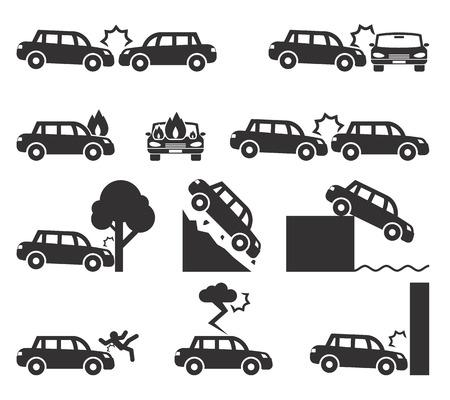 Ilustración de Car crash and accidents icon set - Imagen libre de derechos
