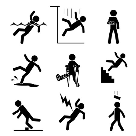 Illustration pour Safety and accident icons set. Trauma and brick on head, crutch and cling, slip and puddle, gypsum and fracture. Vector illustration - image libre de droit