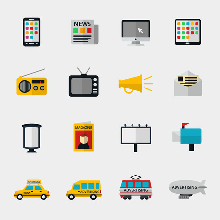 Illustration pour Flat media icons set. Marketing web, email television and radio internet, media content, newspaper and magazine. Vector illustration - image libre de droit