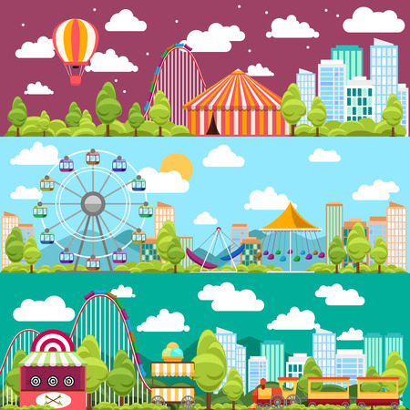 Illustration pour Flat design conceptual city banners with carousels. Slides and swings, ferris wheel attraction, vector illustration - image libre de droit