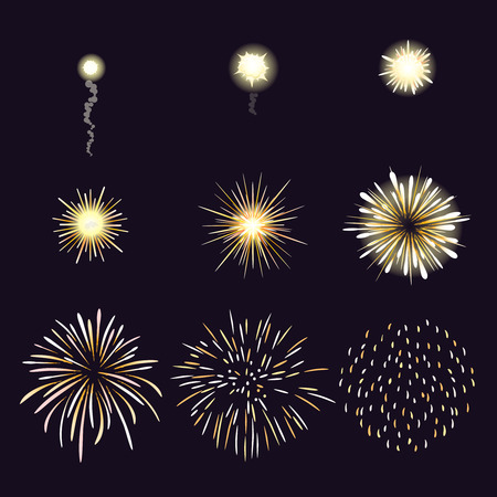 Illustration pour Animation of firework effect in cartoon comic style. Festival and event, celebrate and party. Vector illustration - image libre de droit