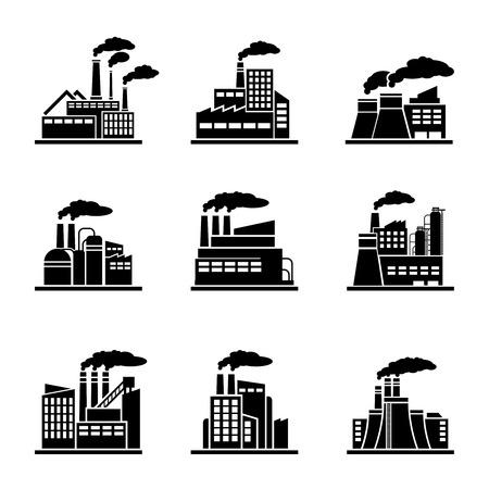 Ilustración de Factory and industrial building icons. Power plant, energy construction, refinery and nuclear. Vector illustration - Imagen libre de derechos