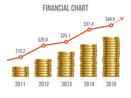 Illustration pour Financial chart. Diagram of making money with gold coins. Graph investment, growth gold business market, vector illustration - image libre de droit