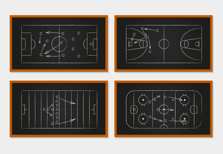 Illustration pour Basketball, soccer, football and ice hockey courts on a chalkboard. Sport tactics on a board. Idea and player, strategy and teamwork, order and organization. Vector illustration - image libre de droit