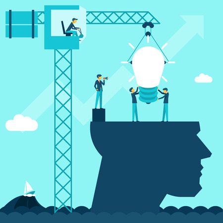 Ilustración de Vector business idea background. Illustration businessmen establish lightbulb of using a crane head - Imagen libre de derechos