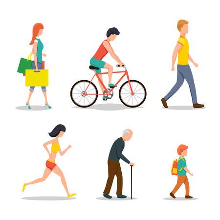 Ilustración de People on street in flat style design - Imagen libre de derechos