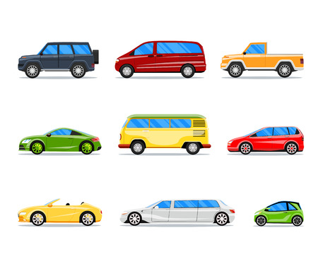 Illustration pour Vector car icons in flat style.  cabrio, limousine and hatchback, van and sedan illustration - image libre de droit
