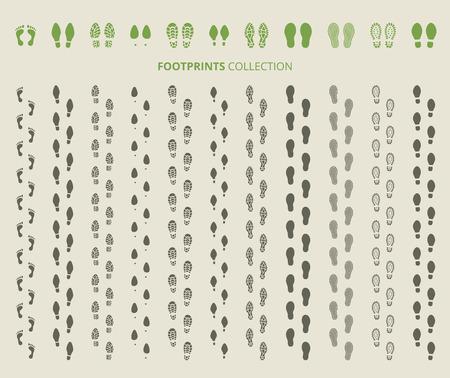 Ilustración de Shoes imprints set. Footprint and human step, footwear and track, vector illustration - Imagen libre de derechos