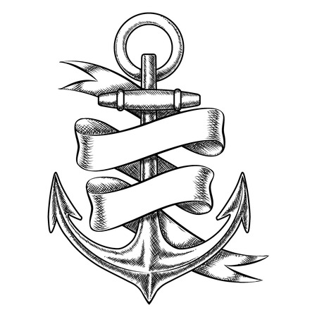 Illustration pour Vector hand drawn anchor sketch with blank ribbon. Nautical isolated object, vintage marine tattoo illustration - image libre de droit