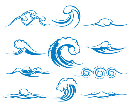 Ilustración de Waves of sea or ocean waves, blue water, splash and gale, vector illustration - Imagen libre de derechos